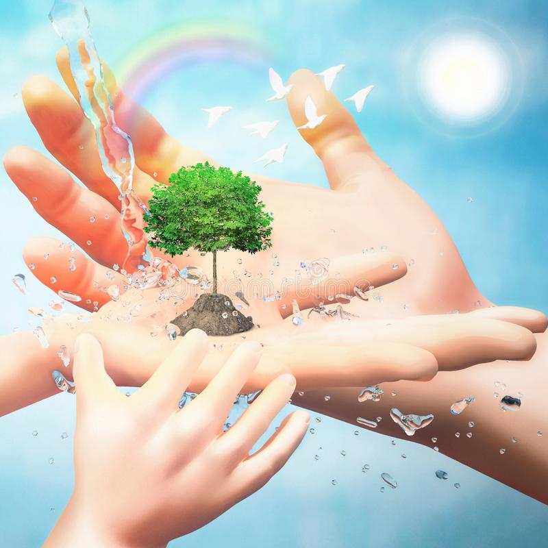 Nature in human hand. The concept of environmental protection. Template for your design with hands, tree, birds, water jets and. Rainbow stock illustration