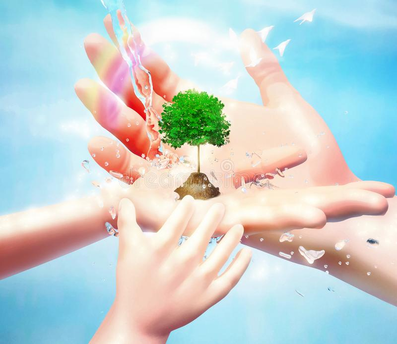 Nature in human hand. The concept of environmental protection. Template for your design with hands, tree, birds, water jets and royalty free stock image