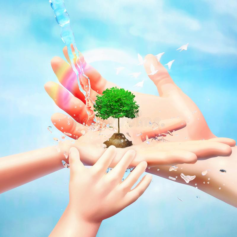 Nature in human hand. The concept of environmental protection. Template for your design with hands, tree, birds, water jets and. Rainbow vector illustration