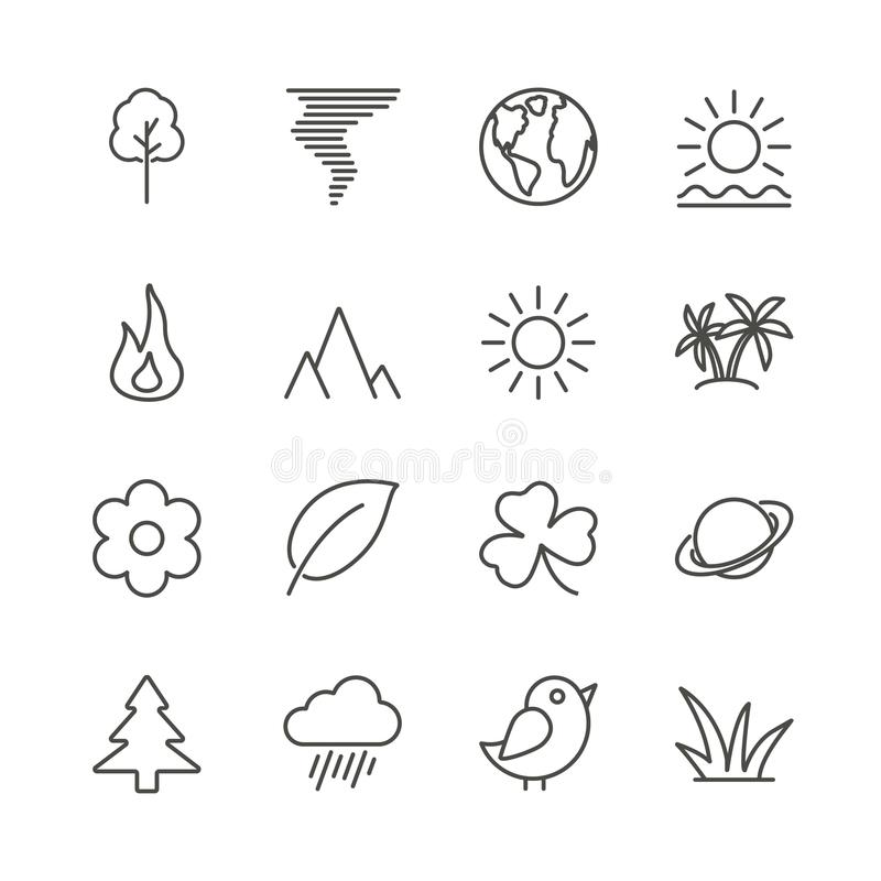 Nature icon set vector. Line eco symbol collection isolated. Trendy flat outline ui sign design. Th stock illustration