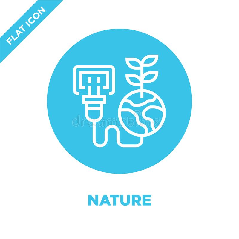 nature icon vector from global warming collection. Thin line nature outline icon vector  illustration. Linear symbol for use on royalty free illustration