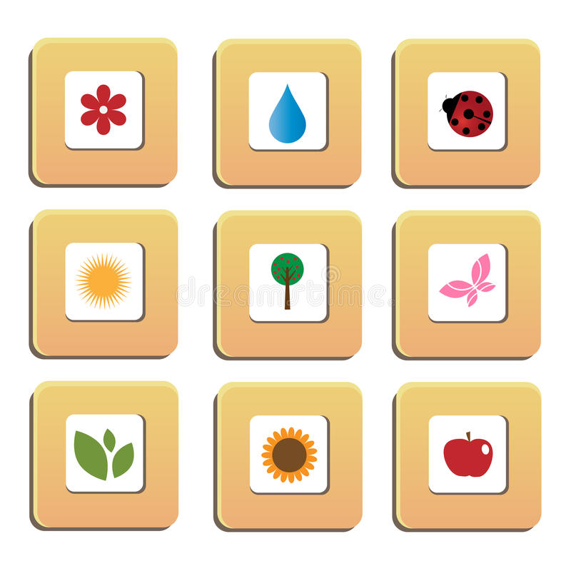 Download Nature icons stock vector. Image of buttons, decoration - 13330975