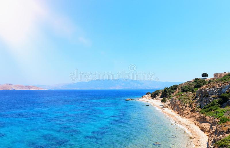 Nature image of the beautiful Mediterranean sea with mountains at the sunlight.  royalty free stock photo