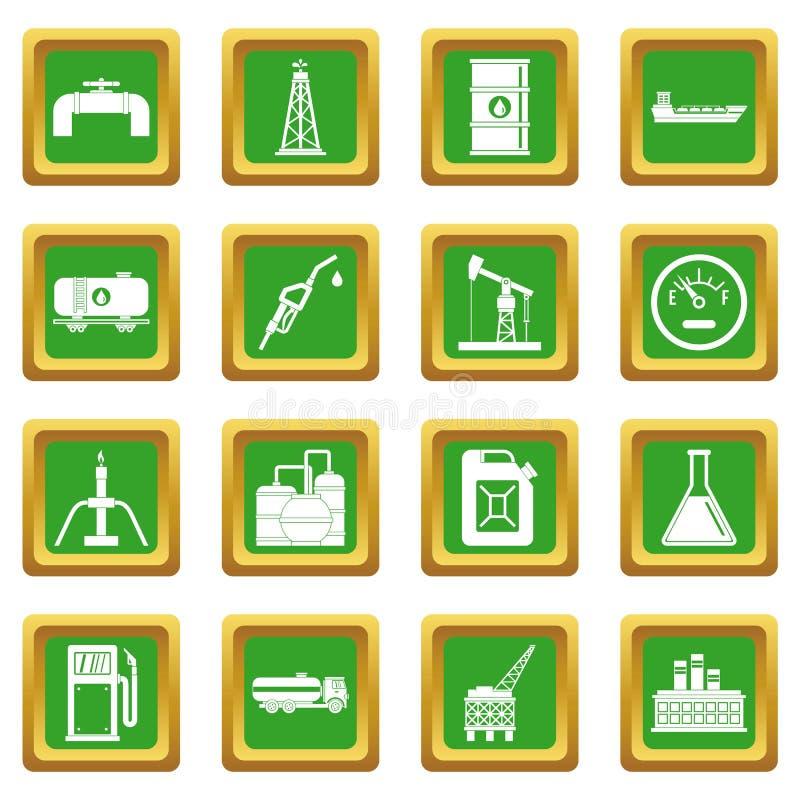 Nature items icons set green stock illustration