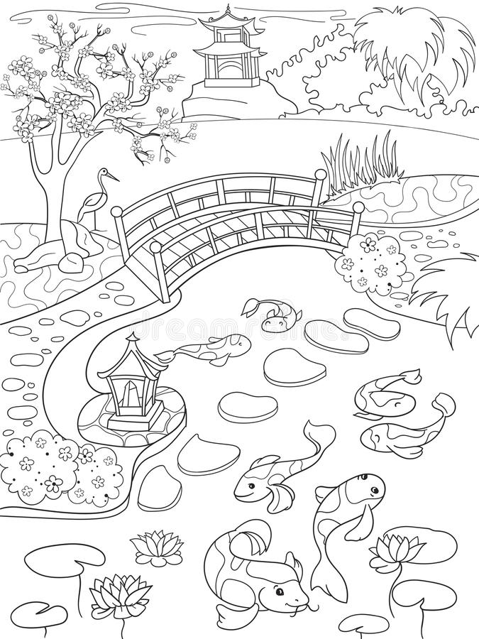 nature of japan coloring book for children cartoon japanese garden vector illustration - Japanese Coloring Book