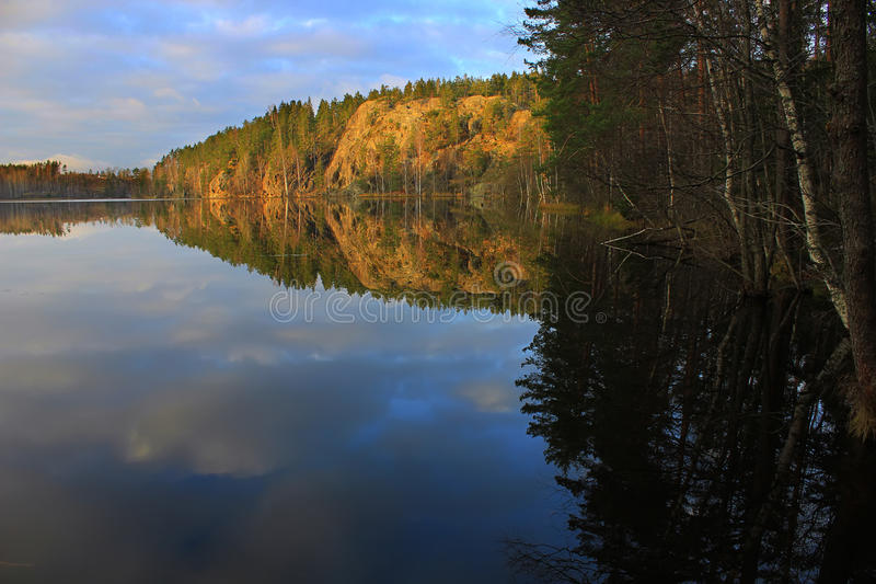 Nature of Karelia, Russia. N nature, Hawk Lake, rocks above the water, forest landscape, forest lake, nature Russia stock image