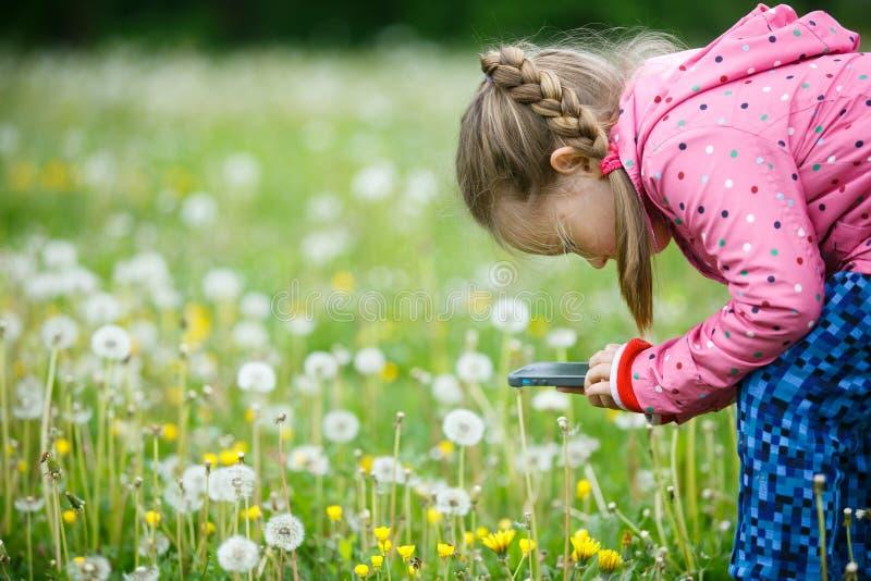 Nature l'explorant de petite fille avec son téléphone intelligent image libre de droits