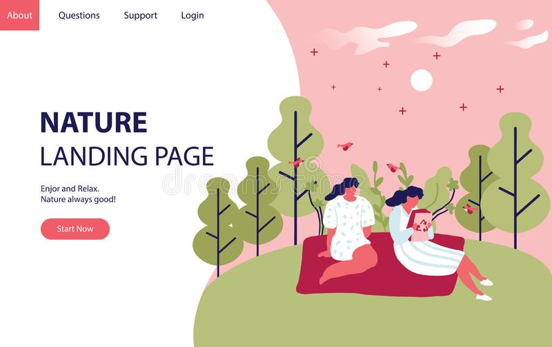 Nature landing page concept with women in the hill and forest. Landing modern page template vector illustration - Vector. Nature landing page concept with women stock illustration
