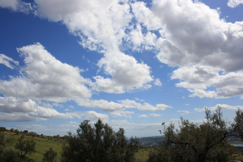 Nature. Landscape Axarquia, Lake, montains and blue sky with clouds stock photography