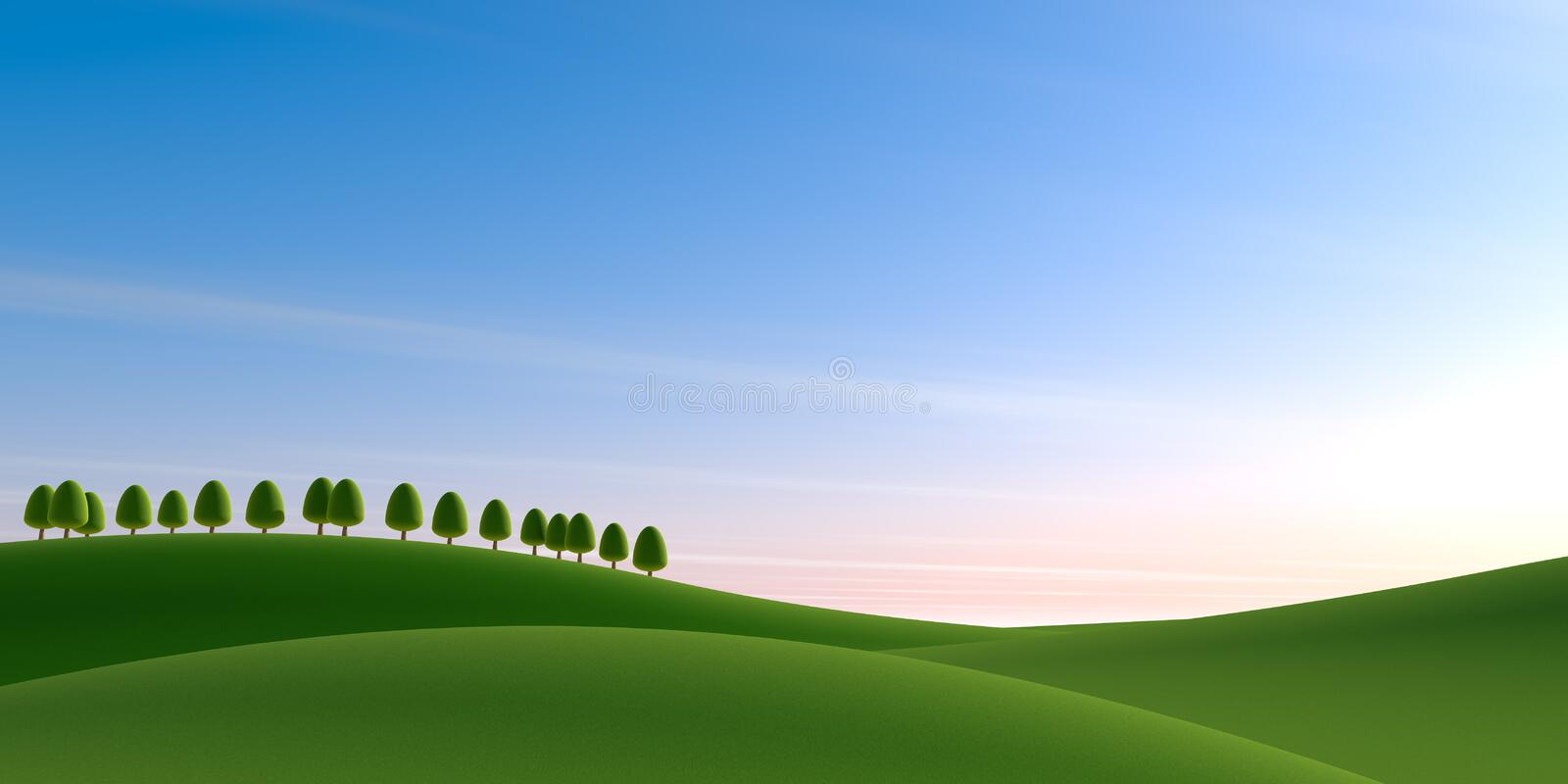 Blue sky background. Trees and nature. 3D illustration. Nature landscape. Nature background. Beautiful sky. Countryside landscape. Beautiful clouds. Huge vector illustration