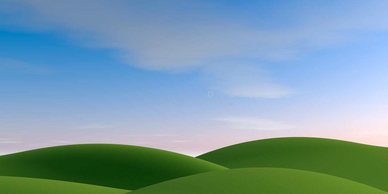 Beautiful clouds. Nature background. 3D illustration. Nature landscape. Nature background. Beautiful sky. Countryside landscape. Beautiful clouds. Huge mountains vector illustration