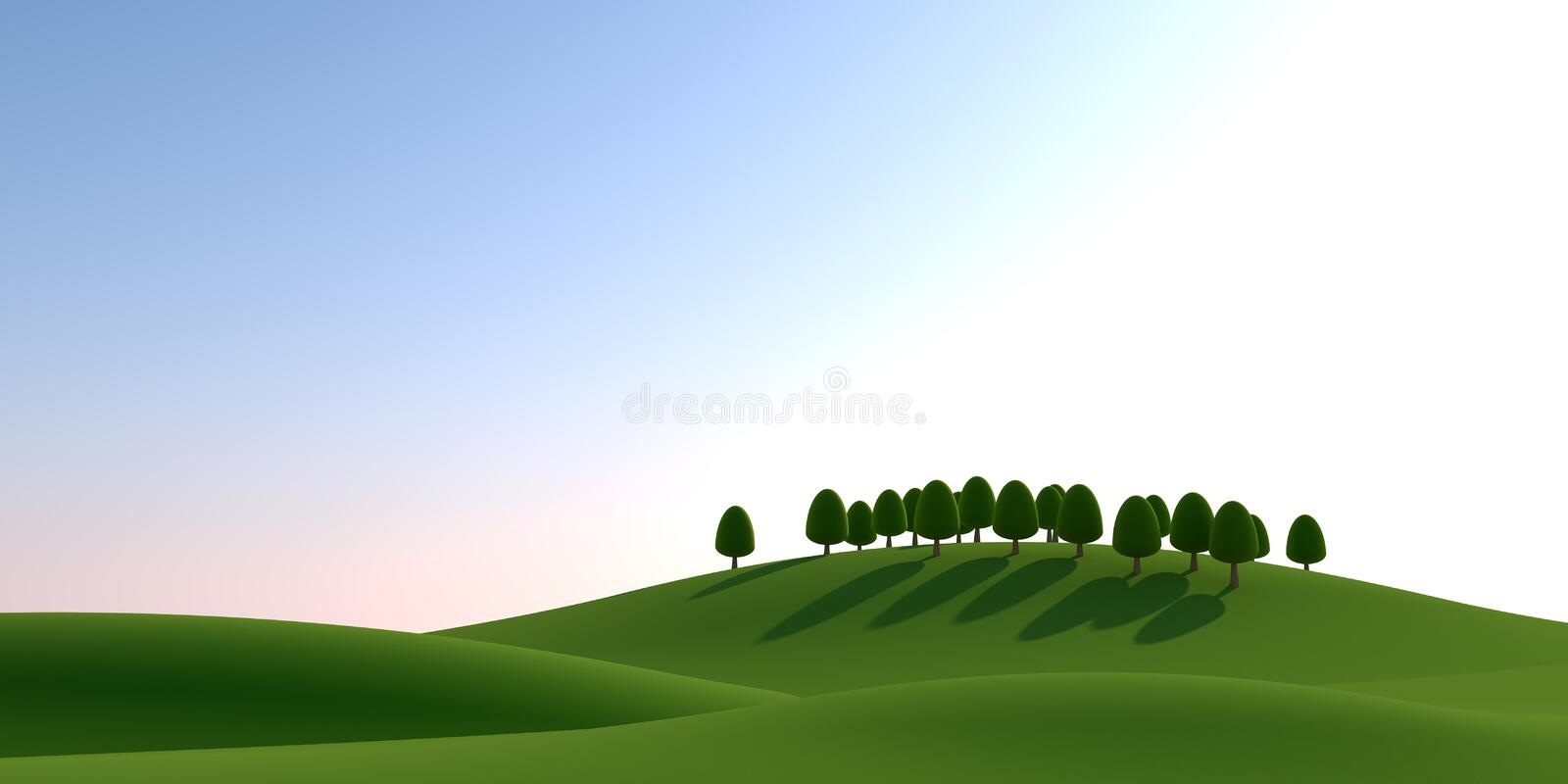 Trees and sun. Natural landscape. 3D illustration. Nature landscape. Nature background. Beautiful sky. Countryside landscape. Beautiful clouds. Huge mountains royalty free illustration