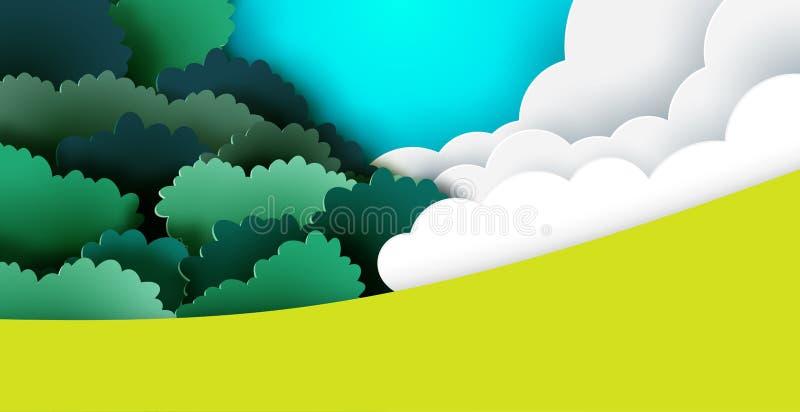 Nature landscape background paper art style. Nature landscape background with clouds,sky and forest paper art style.Vector illustration vector illustration