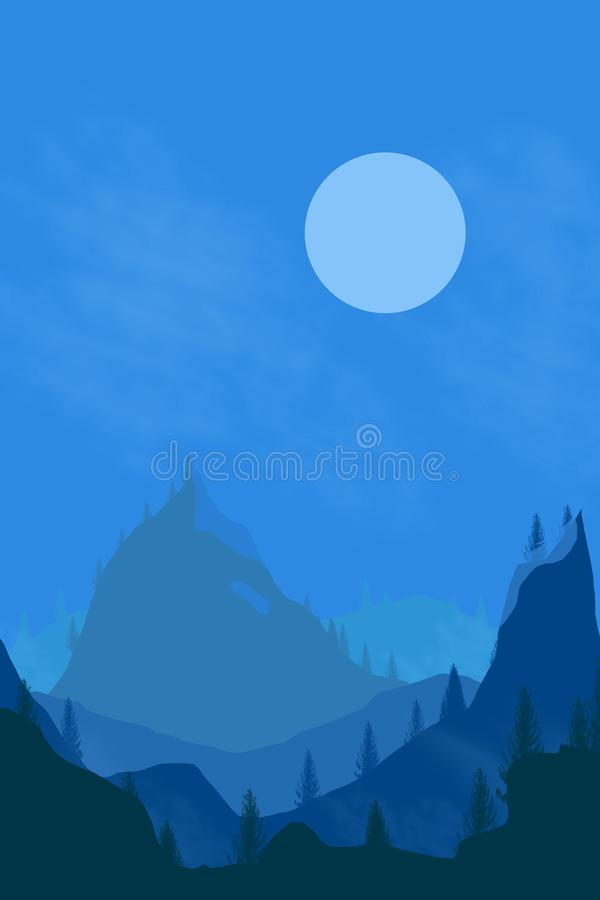 Nature landscape background. Cuted flat design royalty free illustration