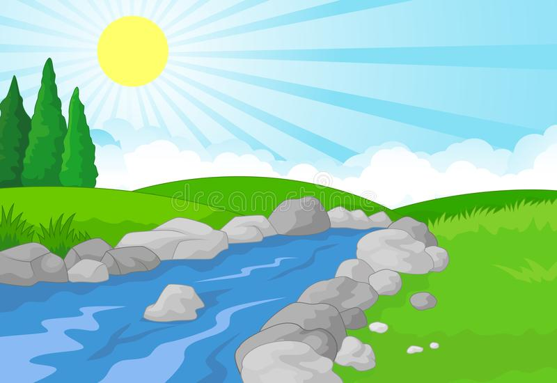 Nature landscape background with green meadow, mountain and river vector illustration
