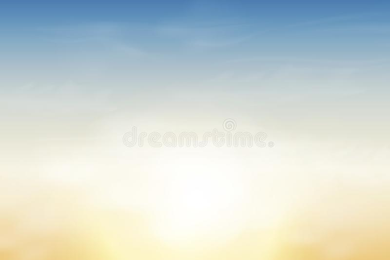 Nature Landscape Background with soft Blue sky and Fluffy white Realistic clouds. Vector illustration vector illustration
