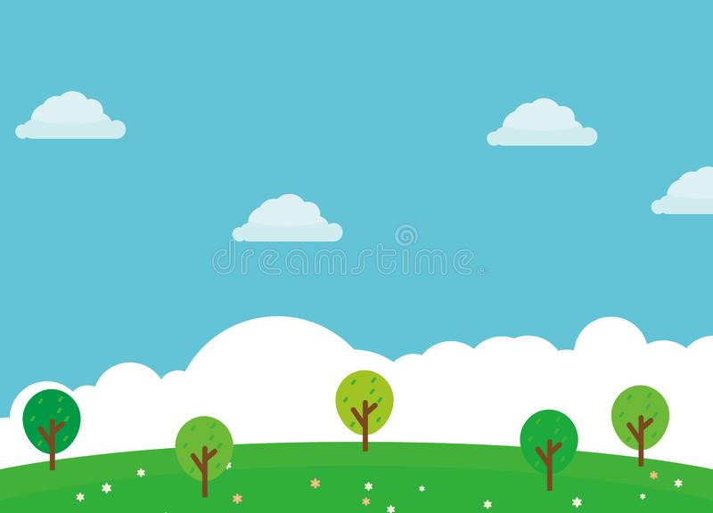 Nature landscape cartoon illustration green grass, flower, trees and blue sky. Suitable for kids background royalty free illustration