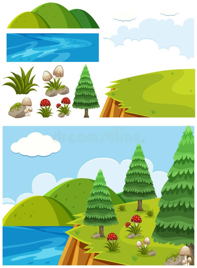 Nature landscape of cliff with trees and mushroom. Illustration royalty free illustration