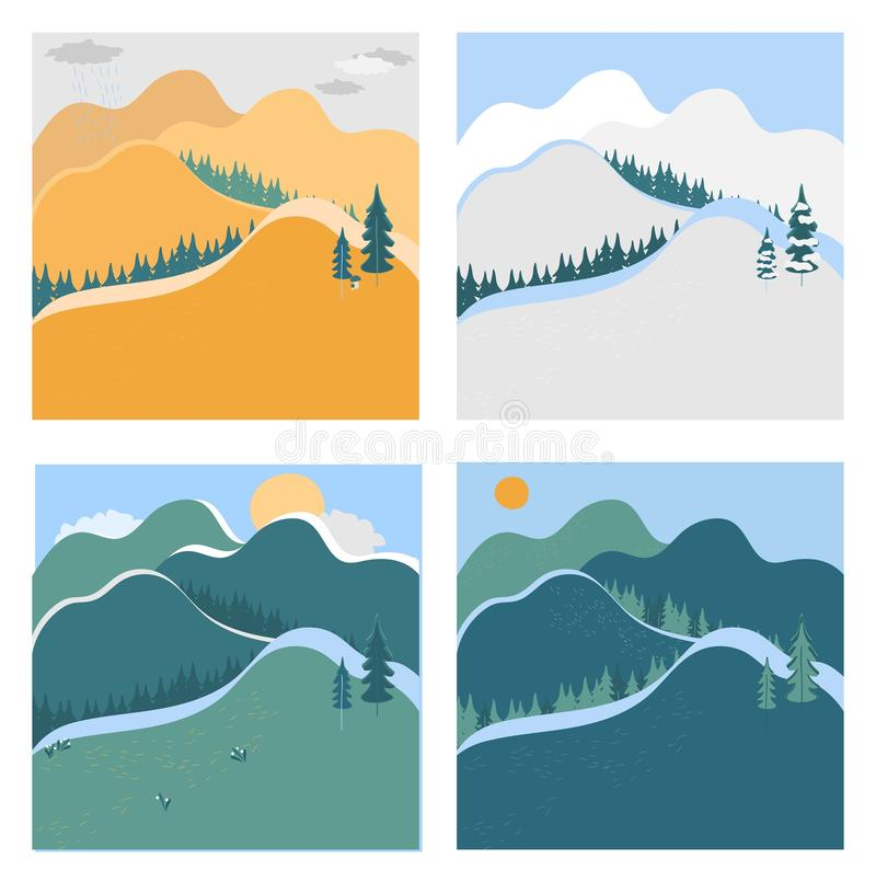 Nature landscape in different seasons, vector illustration stock photography