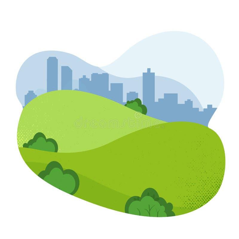 Nature Landscape. Empty Urban Garden. City Park. friendly Natural landscape. Beautiful park. Public park with hills and cityscape vector illustration