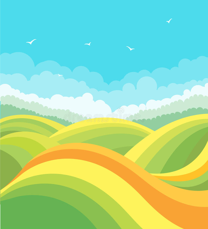 Nature landscape with green fields and birds in bl vector illustration