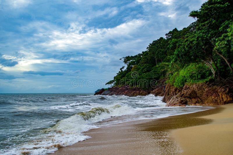 Nature landscape. Gulf of Thailand on a cloudy day. Colorful, sky, summer, summertime, water, ocean, sea, coastline, beach, weather, atmosphere royalty free stock photography