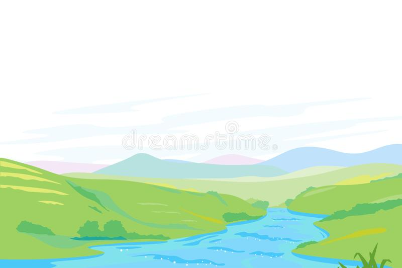 River in Green Valley Panorama stock illustration
