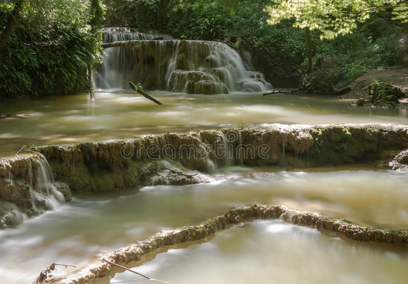 Nature landscape of Krushuna. Forest waterfalls. Long exposure. royalty free stock photos