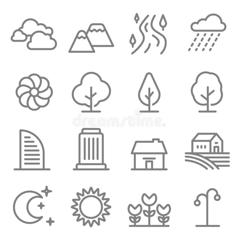 Nature landscape line vector icon set. Outline trees and mountains, River icons. City building, House, Home and green tree outline stock illustration