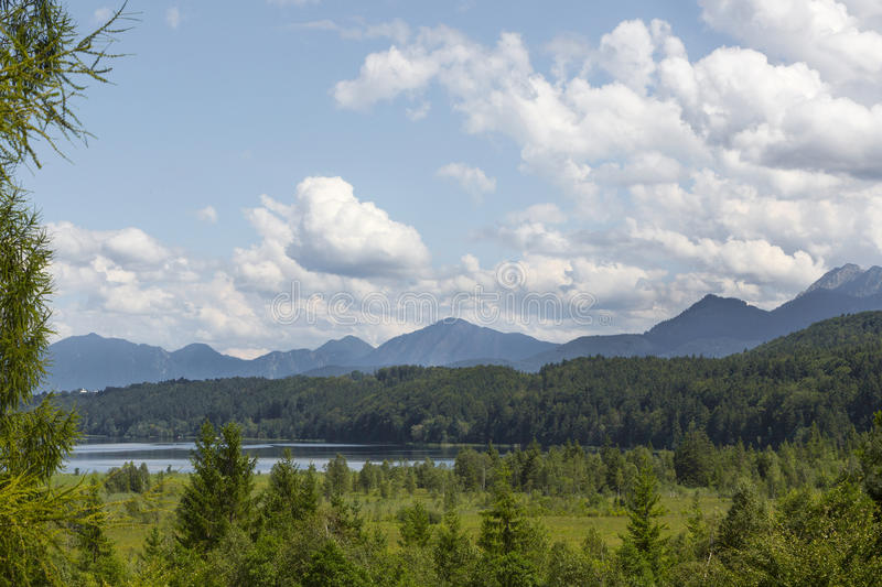 Nature landscape with mountain panorma at Staffelsee, Bavaria, G royalty free stock photography
