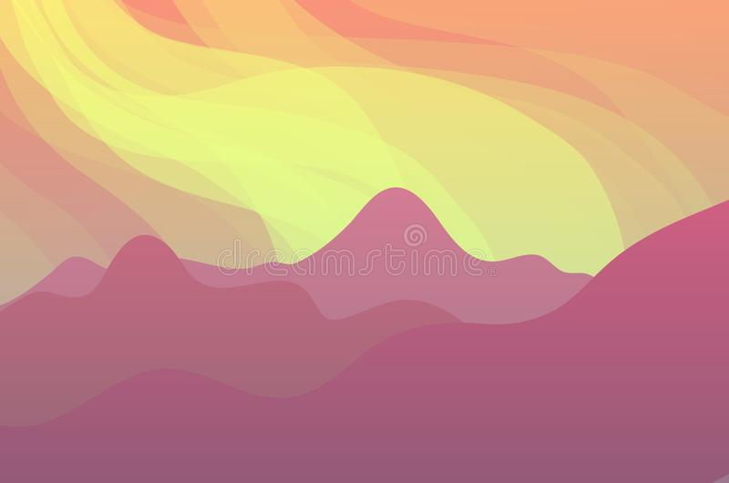 Nature Landscape with Mountains. Vector Nature Landscape with Mountains and Beautiful Sky vector illustration