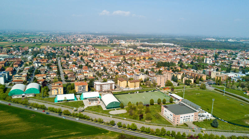 Nature and landscape, municipality of Solaro, Milano: Aerial view of a field, houses and homes, Italy. Nature and landscape, municipality of Solaro, Milano stock images