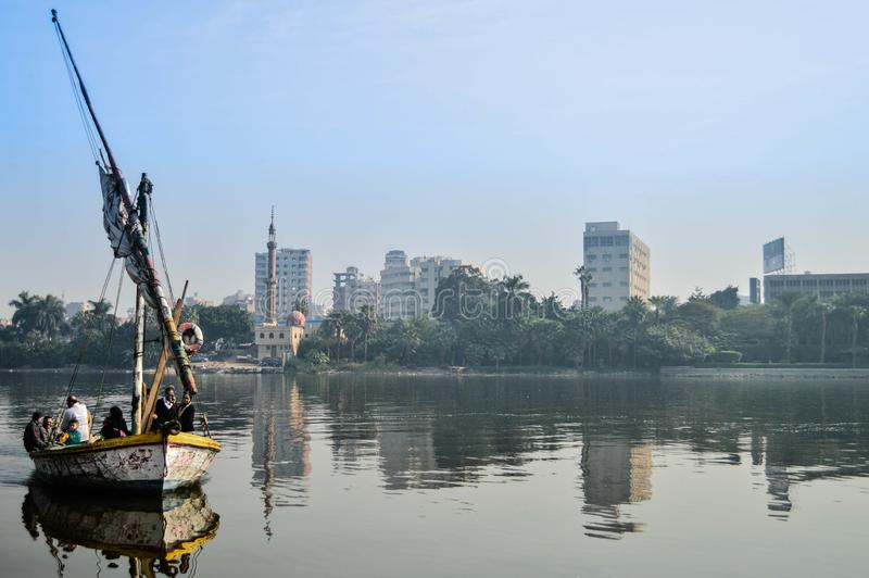 A ship in the Nile by people stock photography