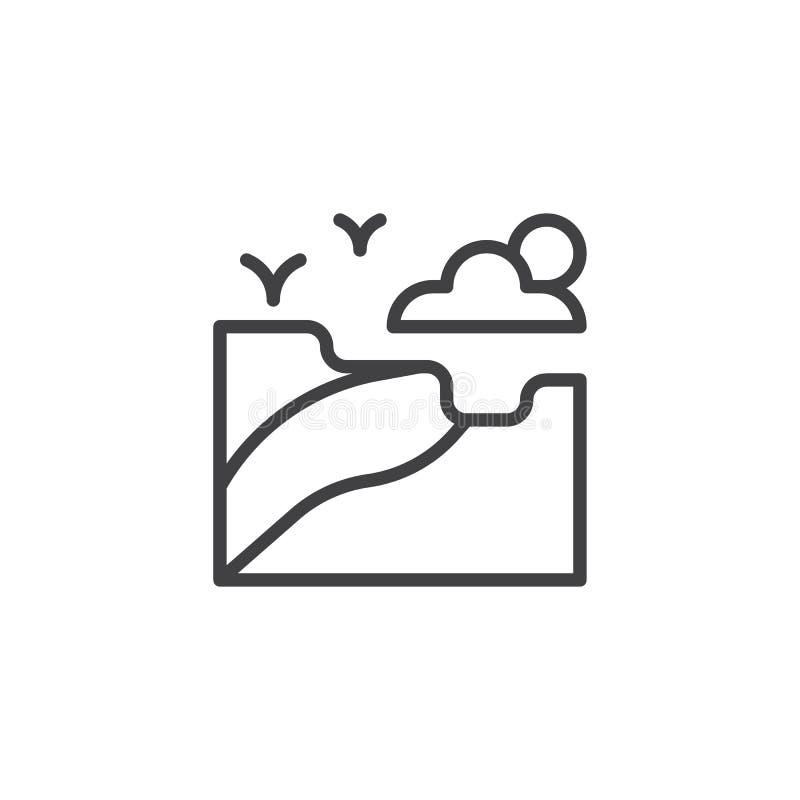 Nature landscape outline icon stock illustration