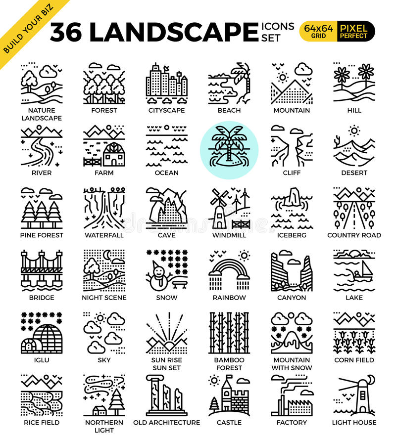 Nature landscape pixel perfect outline icons stock illustration