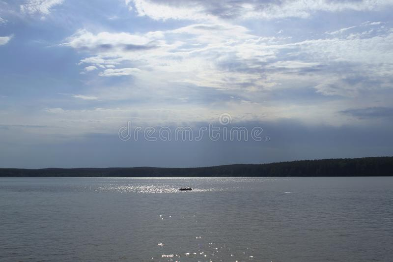 Nature landscape. Sky and water. Chusovaya river, Ural, Russia. Outdoor, outdoors, natural, background, view, horizon, relax, relaxation, meditation, rest stock photos