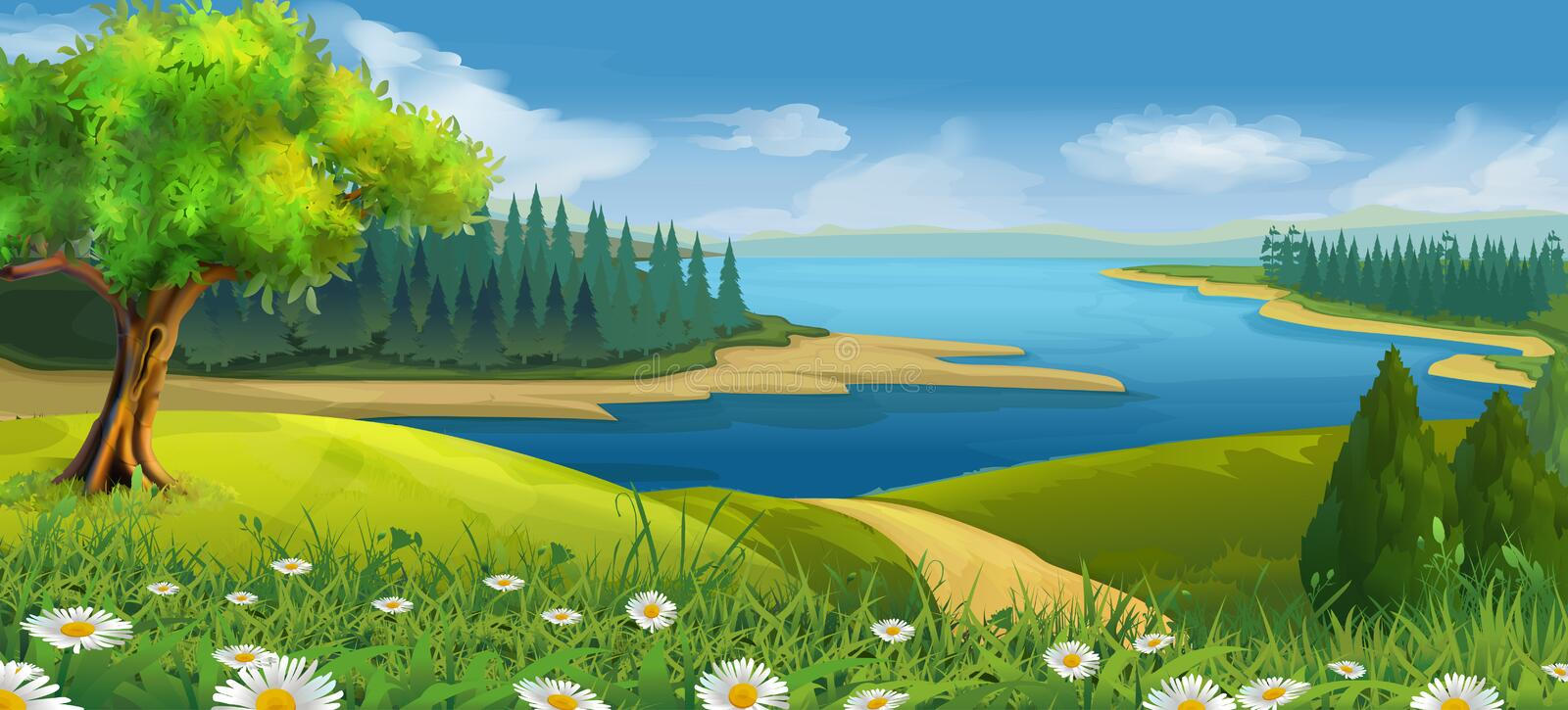 Nature landscape, stream valley. Vector background stock illustration