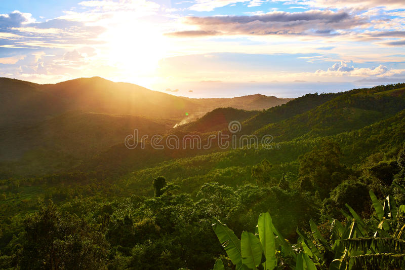 Nature Landscape Of Thailand Sunset. Scenery Background. Environment. Travel, Tourism. Nature Landscape. Scenic View Of Green Hills Of Thailand Island During royalty free stock photo