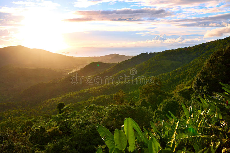 Nature Landscape Of Thailand Sunset. Scenery Background. Environment. Travel, Tourism. Nature Landscape. Scenic View Of Green Hills Of Thailand Island During stock photo