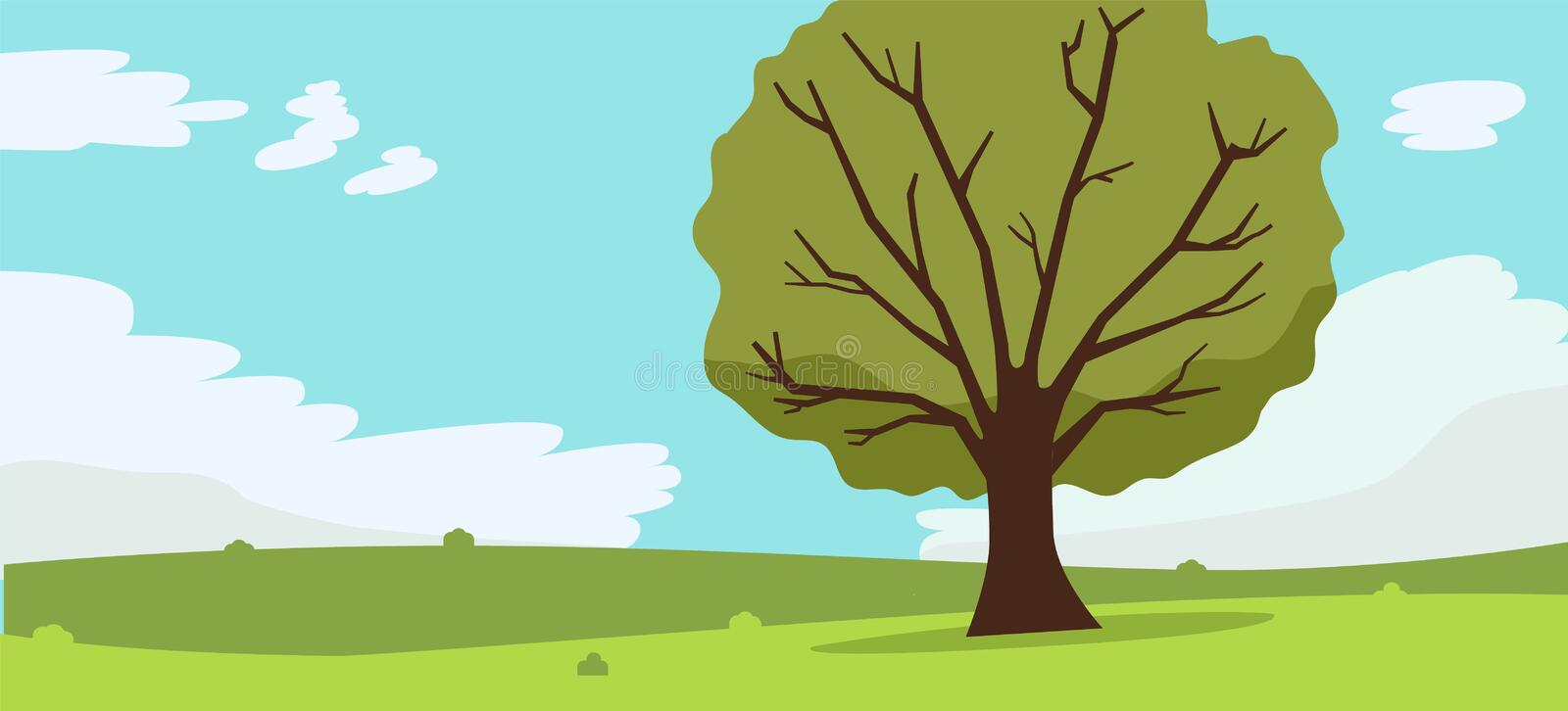 Nature landscape with tree , clouds and sky background.Vector illustration.Mountains Hills Green Grass and big tree. royalty free illustration