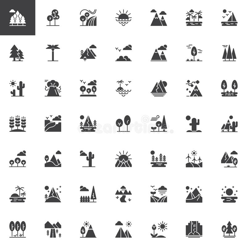 Nature landscapes vector icons set vector illustration