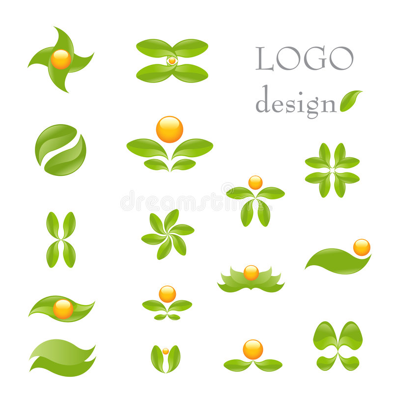 Nature logo. Nature- vector logo design set isolated on white. Alternative medicine and ecology targeted