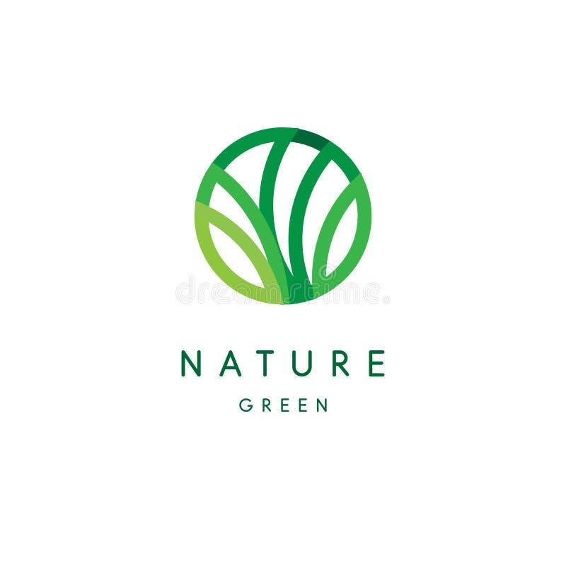 Nature logo, green tropical leaves icon, line stylized, round emblem, modern design, tree foliage logotype template stock illustration