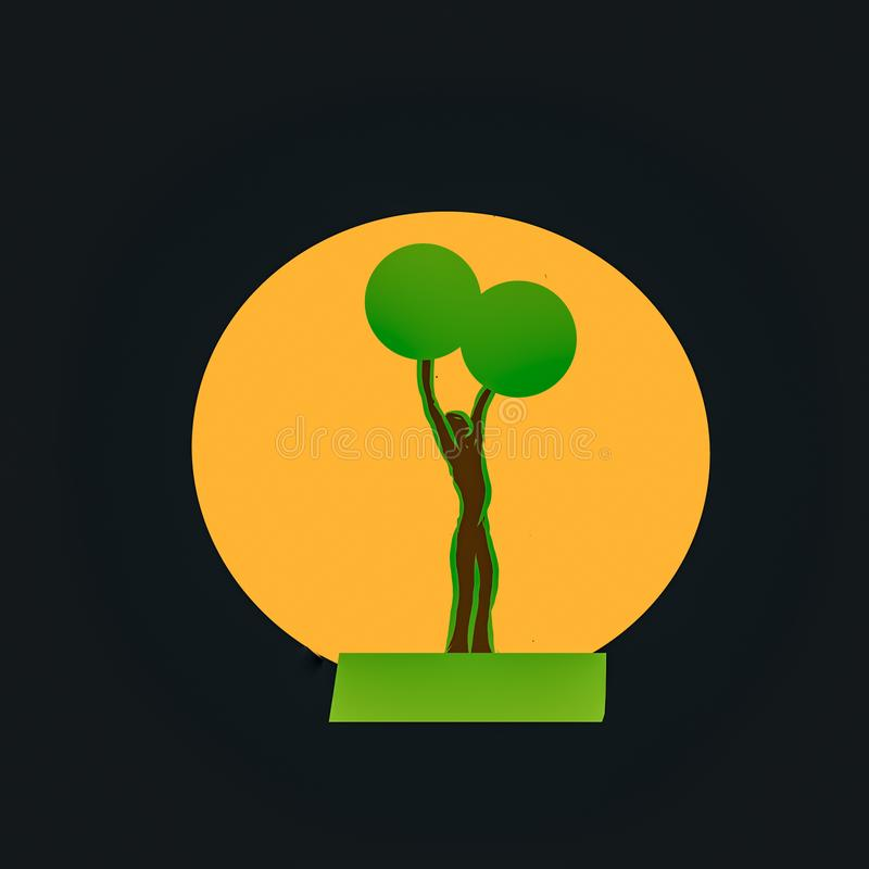 Nature logo. silhouettes man with hands up with 2 green balls at the end. all to depict a tree.. stock illustration