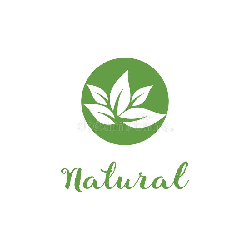 Nature logo template, design vector icon illustration. Natural, leaf, organic, green, symbol, food, eco, concept, fresh, health, ecology, bio, logos, plant royalty free illustration