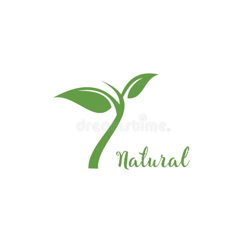 Nature logo template, design vector icon illustration. Natural, leaf, organic, green, symbol, food, eco, concept, fresh, health, ecology, bio, logos, plant stock illustration