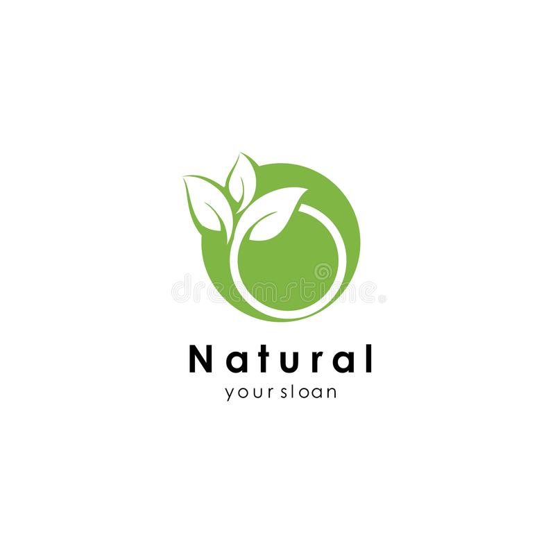 Nature logo template, green design vector icon illustration. Abstract, agriculture, art, bio, botanical, botany, branch, business, creative, eco, ecology royalty free illustration