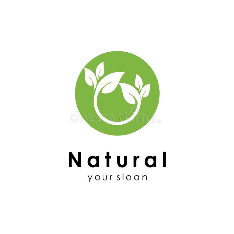 Nature logo template, green design vector icon illustration. Abstract, agriculture, art, bio, botanical, botany, branch, business, creative, eco, ecology stock illustration