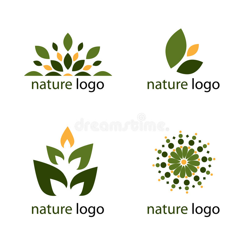 Nature logos. Set of four nature logos for your business,isolated on white background.EPS file available royalty free illustration