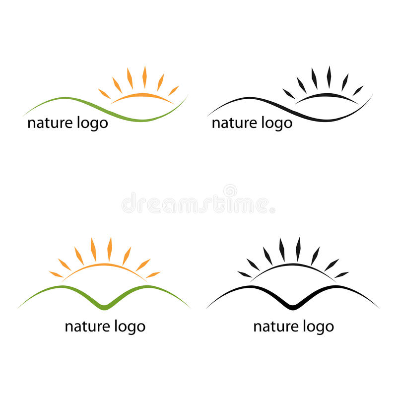 Nature logos. Set of four nature logos for your business,isolated on white background.Colors and black and white version.EPS file available royalty free illustration